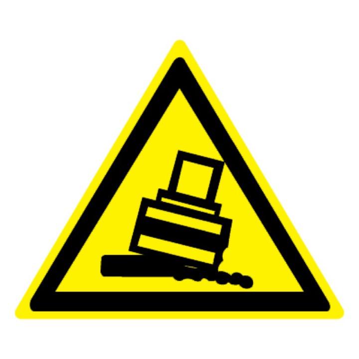 Знак W24 Осторожно! Возможно опрокидывание •ГОСТ 12.4.026-2015• (Пластик 200 х 200)
