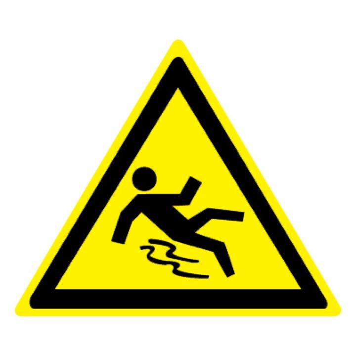 Знак W28 Осторожно! Скользко •ГОСТ 12.4.026-2015• (Пленка 200 х 200)