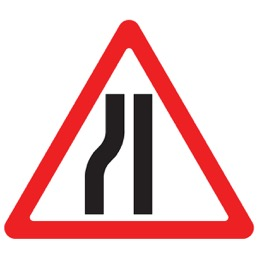 Дорожный знак 1.20.3 Сужение дороги (A=900)