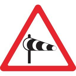 Дорожный знак 1.29 Боковой ветер (A=900)