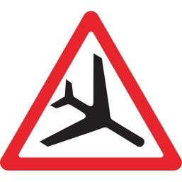 Дорожный знак 1.30 Низколетящие самолеты (A=900)
