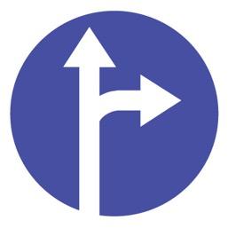 Дорожный знак 4.1.4 Движение прямо или направо (D=700)