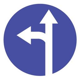 Дорожный знак 4.1.5 Движение прямо или налево (D=700)