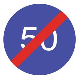 Дорожный знак 4.7 Конец ограничения минимальной скорости (D=700)
