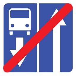 Дорожный знак 5.12 Конец дороги с полосой для маршрутных транспортных средств (B=700)