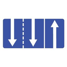Дорожный знак 5.15.7 Направление движения по полосам (700 x 1400)