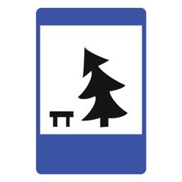 Дорожный знак 7.11 Место отдыха (1050 x 700)