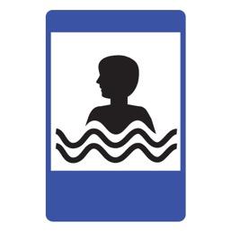 Дорожный знак 7.17 Бассейн или пляж (1050 x 700)