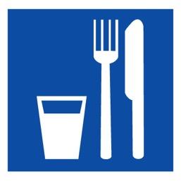 Знак D01 Пункт (место) приема пищи •ГОСТ 12.4.026-2015• (Пленка 200 х 200)