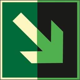 Знак E02-02 Направляющая стрелка под углом 45° (Фотолюминесцентный Пластик 200 х 200) Т1