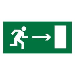 Знак E03 Направление к эвакуационному выходу направо •ГОСТ 12.4.026-2015• (Пленка 150 х 300)