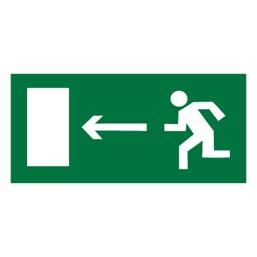 Знак E04 Направление к эвакуационному выходу налево •ГОСТ 12.4.026-2015• (Пленка 150 х 300)