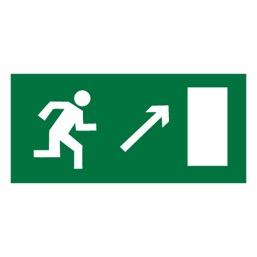 Знак E05 Направление к эвакуационному выходу направо вверх •ГОСТ 12.4.026-2015• (Пленка 150 х 300)