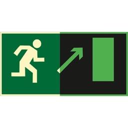 Знак E05 Направление к эвакуационному выходу  направо вверх (Фотолюминесцентный Пленка 150 x 300) Т2
