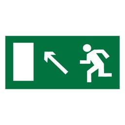Знак E06 Направление к эвакуационному выходу налево вверх •ГОСТ 12.4.026-2015• (Пленка 150 х 300)