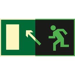 Знак E06 Направление к эвакуационному выходу  налево  вверх (Фотолюминесцентный Пластик 150 x 300) Т1