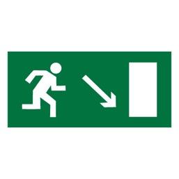 Знак E07 Направление к эвакуационному выходу направо вниз •ГОСТ 12.4.026-2015• (Пленка 150 х 300)