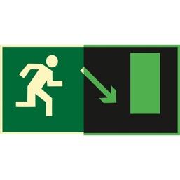 Знак E07 Направление к эвакуационному выходу  направо вниз (Фотолюминесцентный Пленка 150 x 300) Т1