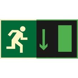 Знак E09 Указатель  двери  эвакуационного выхода (правосторонний ) (Фотолюминесцентный Пленка 150 x 300) Т2