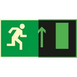Знак E11 Направление к эвакуационному выходу прямо (Фотолюминесцентный Пленка 150 x 300) Т1