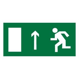 Знак E12 Направление к эвакуационному выходу прямо (левосторонний) •ГОСТ 12.4.026-2015• (Пленка 150 х 300)