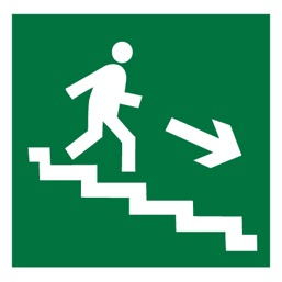 Знак E13 Направление к эвакуационному выходу по лестнице вниз (правосторонний) •ГОСТ 12.4.026-2015• (Пластик 200 х 200)