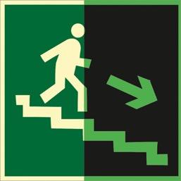 Знак ФЭС E13 Направление к эвак. выходу по лестнице вниз (правосторонний) (Пленка 150 Х 150)