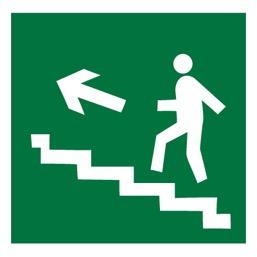 Знак E16 Направление к эвакуационному выходу по лестнице вверх (левосторонний) •ГОСТ 12.4.026-2015• (Пленка 200 х 200)