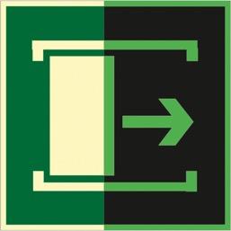Знак E20 Для открывания сдвинуть (Фотолюминесцентный Пластик 200 x 200) Т1