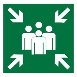 Знак E21 Пункт (место) сбора •ГОСТ 12.4.026-2015• (Пленка 200 х 200)