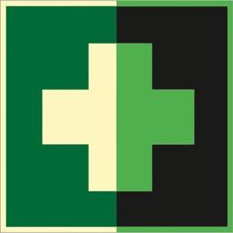 Знак EC01 Аптечка первой медицинской помощи (Фотолюминесцентный Пластик 200 x 200) Т1