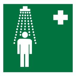 Знак EC03 Пункт приема гигиенических процедур (душевые) •ГОСТ 12.4.026-2015• (Пленка 200 х 200)