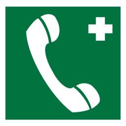 Знак EC06 Телефон связи с медицинским пунктом (скорой медицинской помощью) •ГОСТ 12.4.026-2015• (Пленка 200 х 200)