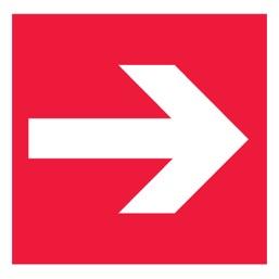 Знак F01-01 Направляющая стрелка •ГОСТ 12.4.026-2015• (Пластик 200 х 200)