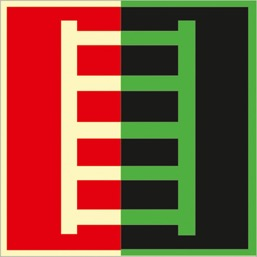 Знак F03 Пожарная лестница (Фотолюминесцентный Пленка 200 x 200) Т1