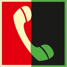 Знак F05 Телефон для использования при пожаре (в том числе телефон прямой связи с пожарной охраной) (Фотолюминесцентный Пластик 200 х 200) Т1