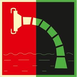 Знак F07 Пожарный водоисточник  (Фотолюминесцентный Пленка 200 x 200) Т1