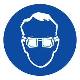 Знак M01 Работать в защитных очках •ГОСТ 12.4.026-2015• (Пластик 200 х 200)