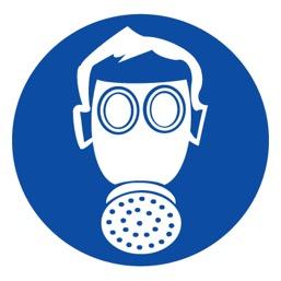 Знак M04 Работать в средствах индивидуальной защиты органов дыхания •ГОСТ 12.4.026-2015• (Пленка 200 х 200)