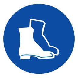 Знак M05 Работать в защитной обуви •ГОСТ 12.4.026-2015• (Пластик 200 х 200)