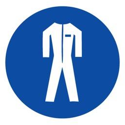 Знак M07 Работать в защитной одежде •ГОСТ 12.4.026-2015• (Пленка 200 х 200)