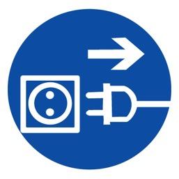 Знак M13 Отключить штепсельную вилку •ГОСТ 12.4.026-2015• (Пластик 200 х 200)
