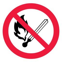 Знак P02 Запрещается пользоваться открытым огнем и курить •ГОСТ 12.4.026-2015• (Пленка 200 х 200)