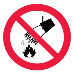 Знак P04 Запрещается тушить водой •ГОСТ 12.4.026-2015• (Пленка 200 х 200)