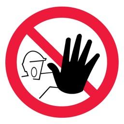 Знак P06 Доступ посторонним запрещен •ГОСТ 12.4.026-2015• (Пленка 200 х 200)