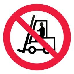 Знак P07 Запрещается движение средств напольного транспорта •ГОСТ 12.4.026-2015• (Пластик 200 х 200)