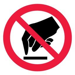Знак P08 Запрещается прикасаться. Опасно •ГОСТ 12.4.026-2015• (Пластик 200 х 200)