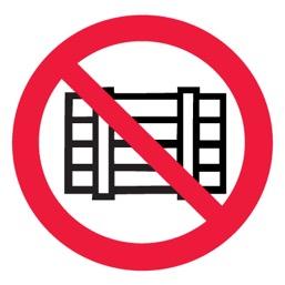 Знак P12 Запрещается загромождать проходы и/или складировать •ГОСТ 12.4.026-2015• (Пластик 200 х 200)