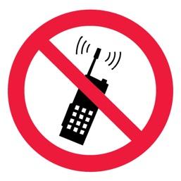 Знак P18 Запрещается пользоваться мобильным (сотовым) телефоном или переносной рацией •ГОСТ 12.4.026-2015• (Пленка 100 х 100)