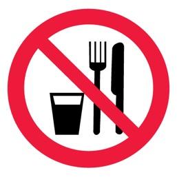 Знак P30 Запрещается принимать пищу •ГОСТ 12.4.026-2015• (Пленка 200 х 200)